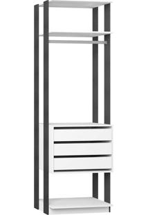 Estante Gaveteiro 700 – Be Mobiliários - Branco / Espresso