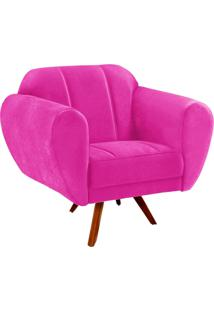 Poltrona Decorativa Melissa Suede Pink Com Base Giratória Madeira - D'Rossi