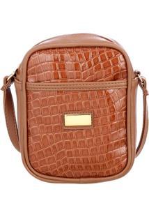 Bolsa Shoulder Bag Croco Mevisto Mã©Dia Caramelo - Caramelo - Feminino - Dafiti