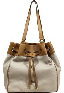 Bolsa De Couro Recuo Fashion Bag Sacola Cacau/ Ocre