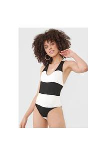 Body Dress To Nadador Off-White/Preto