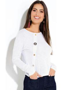 Blusa Flamê Branca Com Botões