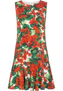 Dolce & Gabbana Vestido Cady Com Estampa Floral - Vermelho