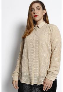 Camisa Com Bordados - Bege- Cotton Colors Extracotton Colors Extra