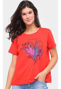 Camiseta Sommer Básica Fab Girls Feminina - Feminino-Laranja