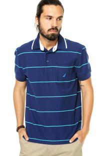 Camisa Polo Nautica Listras Finas Azul