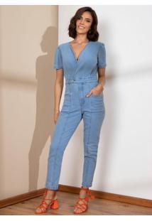 Macacão Jeans Decote Transpasado Com Bolsos