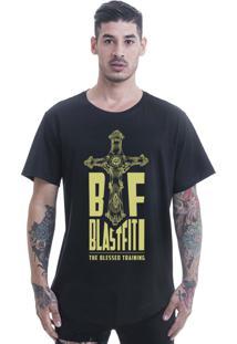 Camiseta Longline Blast Fit Preto Arredondada
