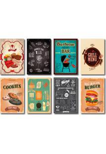 Kit Placas Decorativas Churrasco Cozinha Bar Mdf - 8 Placas