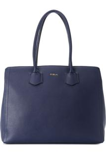 Furla Bolsa Tiracolo Com Logo - Azul