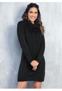 Vestido Em Tricô Preto Com Gola Avulsa