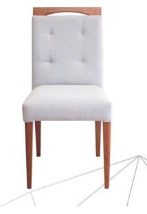 Cadeira Estofada Plus Madeira Maciça 6 Peças Amendoa-Bege