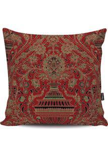 Capa Para Almofada Arabescos- Vermelha & Bege- 45X45Stm Home