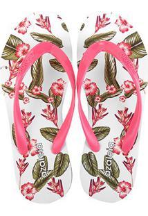 Chinelo Azaleia Floral Feminino - Feminino-Rosa