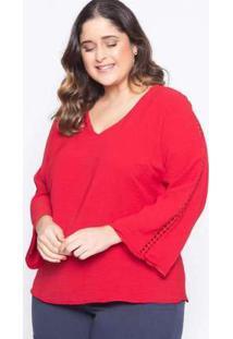 Blusa Almaria Plus Size Lasala Lisa Vermelha Vermelho