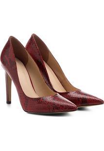 Scarpin Couro Shoestock Salto Alto Snake - Feminino-Vermelho