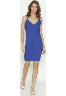 Vestido Liso Texturizado - Azul Royal- Moiselemoisele