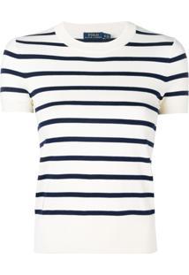 ... Polo Ralph Lauren Blusa De Tricô Listrada - Branco cbfe3c24c0a