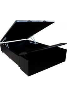 Cama Box Baú Viúva Com Puff Preto 1,10 X 1,88