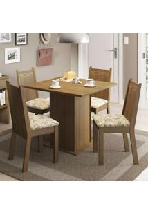 Conjunto De Mesa Com 4 Cadeiras Kate Rustic E Lírio Bege