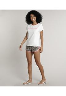 Pijama Feminino Estampado Animal Print Manga Curta Off White