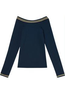 Blusa Azul Marinho Canelada Com Decote Canoa
