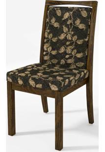 Cadeira Estofada Preto Amarelo Tec Chenille Floral 14939 - Sun House