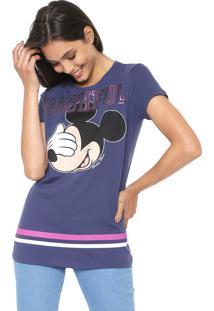 Blusa Cativa Disney Mickey Bashful Azul-Marinho