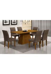 Conjunto Mesa Luna 180 Com 6 Cadeiras Grécia Suede Amassadoimbuia E Chocolate