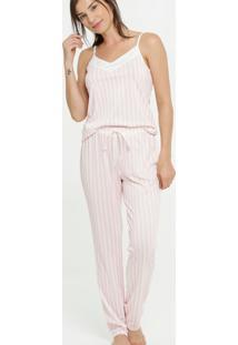 Pijama Feminino Listrado Alças Finas Marisa
