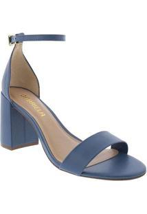Sandália Gabriela Salto Grosso Tira Azul Azul