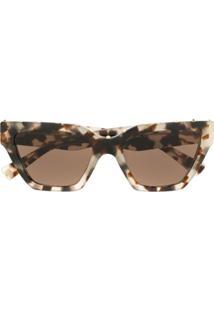 Valentino Eyewear Micro-Studded Square Sunglasses - Marrom