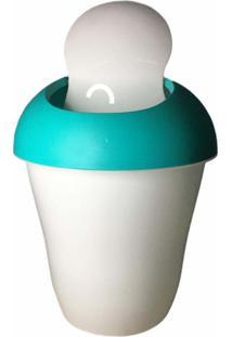 Lixeira Plastica Com Tampa Basculante 2.4 Lts Branca E Verde