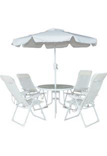 Conjunto Monaco 4 Cadeiras Alumínio Txt Mesa Guarda Sol Belfix