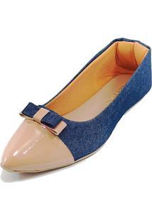 Sapatilha Confort - Laço Duplo - Jeans / - Tricae