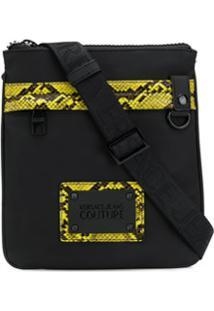 Versace Jeans Couture Snakeskin Effect Detail Shoulder Bag - Preto