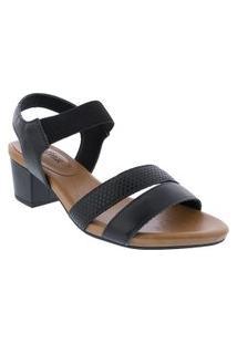 Sandália Usaflex Salto Bloco Textura Croco Preto