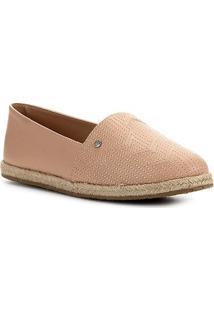 Sapatilha Shoestock Flat Corda Couro Matelasse - Feminino-Nude