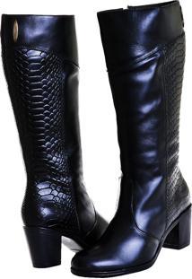 Bota Montaria Feminina Art Shoes Cano Alto 202M Preto