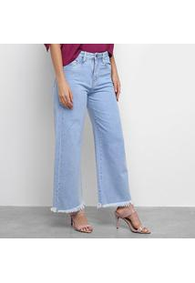 Calça Jeans Pantalona Carmin Clara Barra Desfiada Feminina - Feminino-Azul Claro