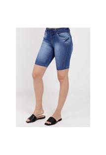 Bermuda Jeans Com Cinto Feminina Azul