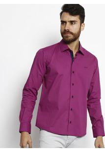 Camisa Slim Fit Com Bordado - Malva & Azul Marinhoogochi