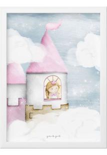 Quadro Amiguinha Princesa Na Torre 25Cm Grão De Gente Rosa