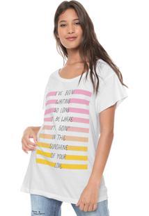 Camiseta Redley Frase Listras Branca