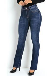 Calça Jeans Boot Cut Com Bolsos Traseiros Sawary