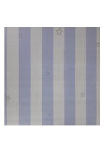 Kit 2 Rolos De Papel De Parede Fwb Azul E Branco Com Listras Prata