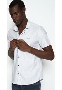 "Camisa Slim Fit Listrada ""Ckâ®"" - Branca & Azulcalvin Klein"