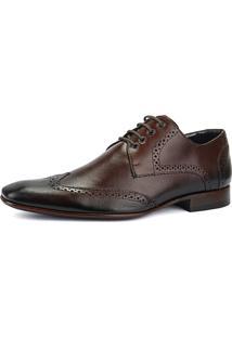 Sapato Social Brogue Sapatofran Wingtip Marrom