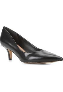 Scarpin Couro Shoestock Salto Médio Bico Fino - Feminino-Preto