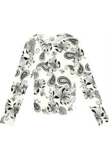 Blusa Branco Paisley Em Viscose